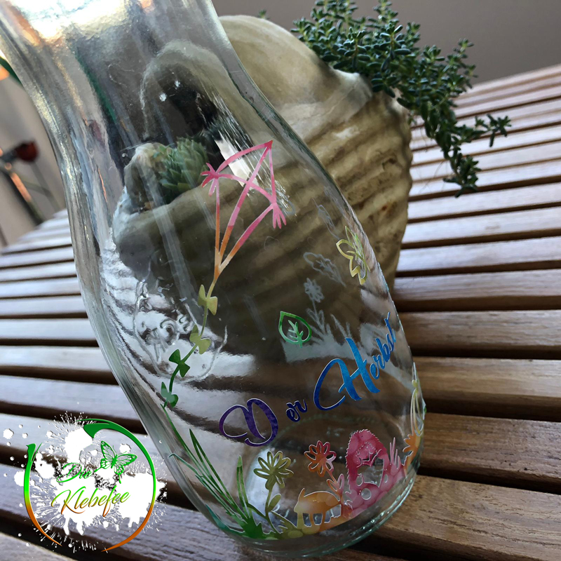 Flasche mit Vinyl Folie