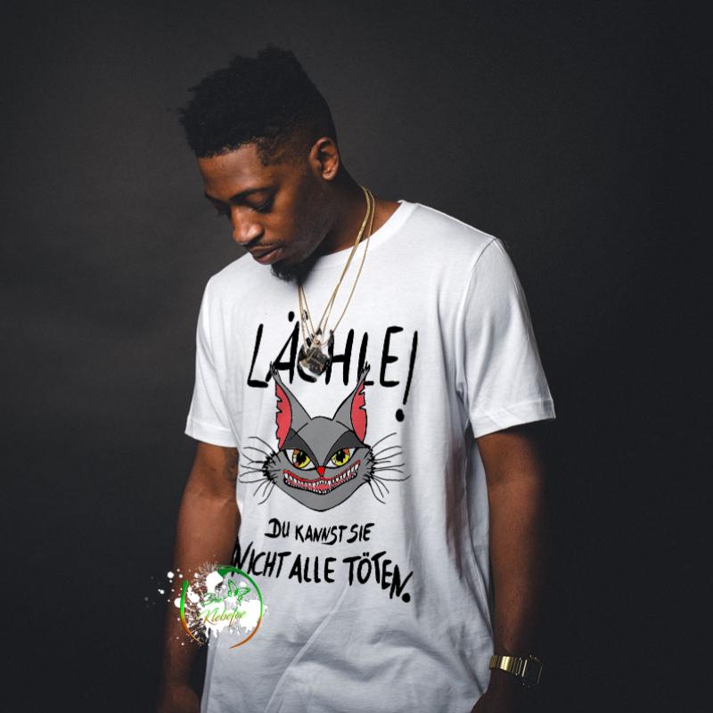 Shirt mit Katzenkopf und Text